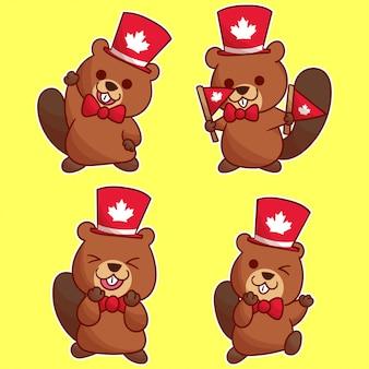 Simpatico castoro per il giorno del canada