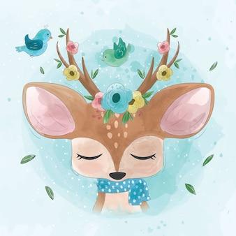 Simpatico cervo con fiori e uccelli