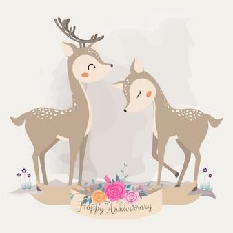 Simpatico cervo innamorato. biglietto d'invito.
