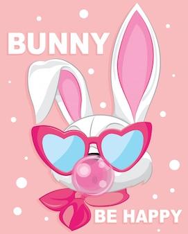 Simpatico coniglietto bianco cartone animato essere felice con la gomma da masticare
