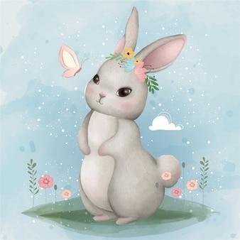 Simpatico coniglietto e farfalla