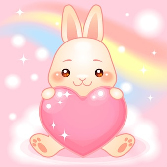 Simpatico coniglietto su un mondo fantasy arcobaleno