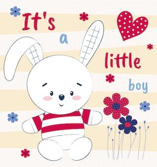 Simpatico coniglietto su una carta con fiori