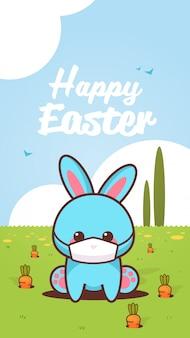 Simpatico coniglio che indossa una maschera per prevenire il coniglietto di pasqua felice coronavirus seduto in adesivo verde erba