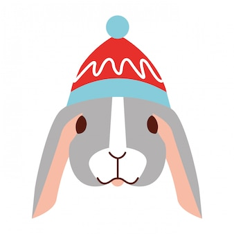 Simpatico coniglio con cappello caldo di natale