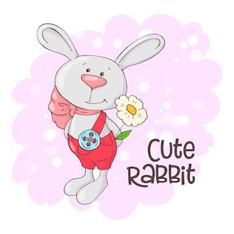 Simpatico coniglio con fiori. stile cartone animato vettore