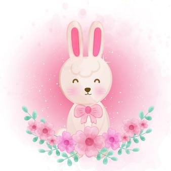 Simpatico coniglio con fiori.