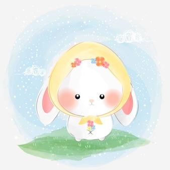 Simpatico coniglio con fiori