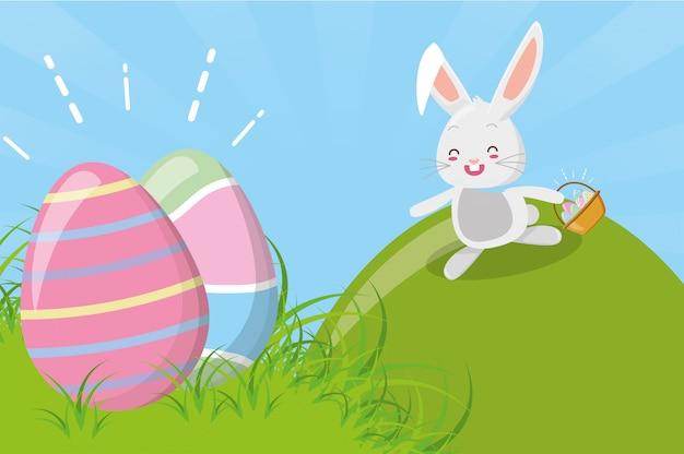Simpatico coniglio con uovo di pasqua