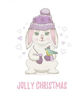 Simpatico coniglio di natale schizzo con uccello. illustrazione di vettore dell'acquerello del fumetto allegro di natale e capodanno.