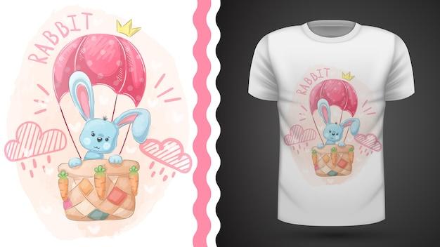 Simpatico coniglio e mongolfiera - idea per la t-shirt stampata.