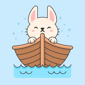 Simpatico coniglio in una barca galleggiante