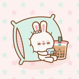 Simpatico coniglio kawaii giocando ai videogiochi