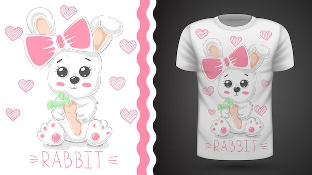 Simpatico coniglio per t-shirt stampata.