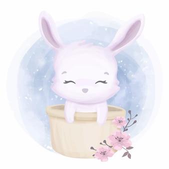 Simpatico coniglio piccolo animale nel secchio