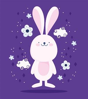 Simpatico coniglio rosa nuvole dflowers fumetto decorazione disegno vettoriale e illustrazione