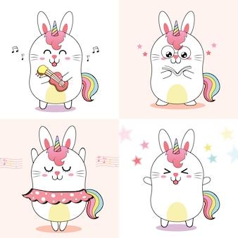 Simpatico coniglio unicorno, dolce cartone animato per bambino