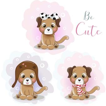 Simpatico cucciolo di cartone animato in un cappello, una sciarpa e una bandana