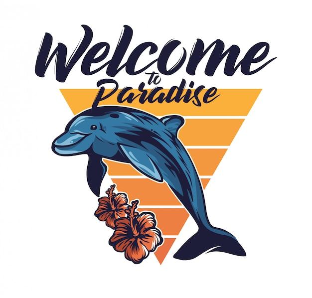 Simpatico delfino che salta fuori dalla libertà dell'oceano mare benvenuto in paradiso