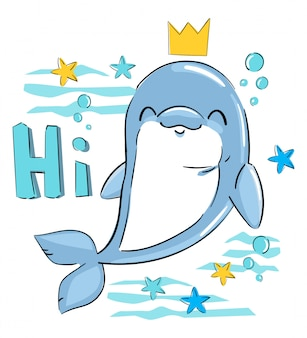 Simpatico delfino con un disegno di stampa infantile corona per t-shirt, costume da bagno, tessuto. illustrazione