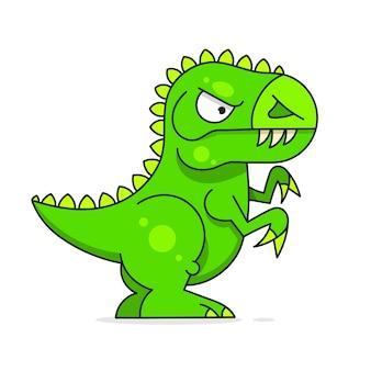 Simpatico dinosauro verde isolato su sfondo bianco