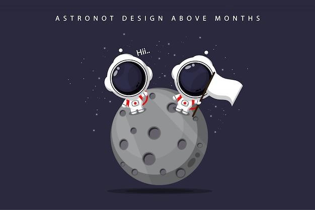 Simpatico disegno astronauta sulla luna