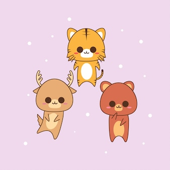 Simpatico disegno di carattere animale kawaii