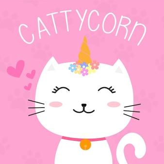 Simpatico disegno di carattere cattycorn o gatto unicorno