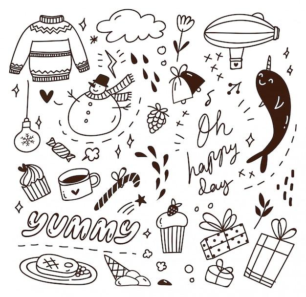 Simpatico doodle con mix di vari oggetti