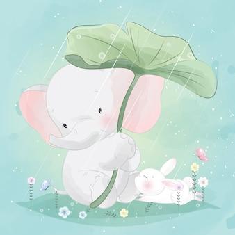 Simpatico elefantino sta aiutando il coniglietto a coprire la pioggia
