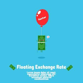 Simpatico fumetto galleggiante di denaro