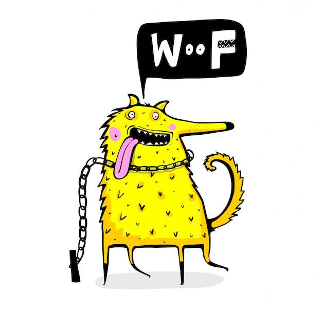 Simpatico fumetto stravagante cane dire woof