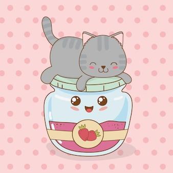 Simpatico gattino con carattere kawaii pentola marmellata di fragole