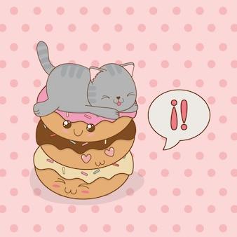 Simpatico gattino con dolce ciambella personaggio kawaii