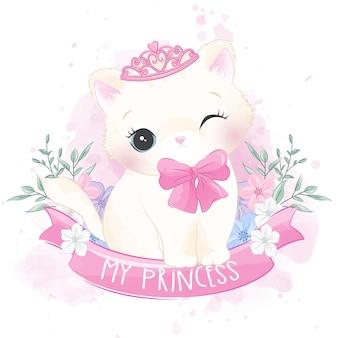 Simpatico gattino con ritratto floreale