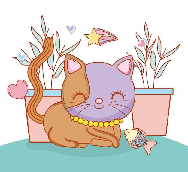 Simpatico gatto animale con piante e pesci