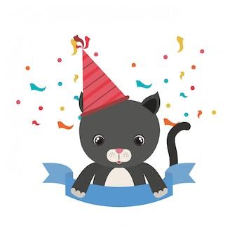 Simpatico gatto con cappello da festa