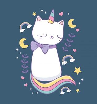 Simpatico gatto con carattere kawaii coda arcobaleno