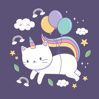Simpatico gatto con coda arcobaleno e palloncini elio kawaii personaggio