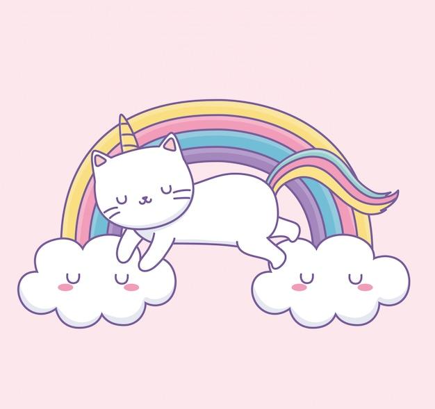 Simpatico gatto con la coda arcobaleno sul personaggio di kawaii nuvole