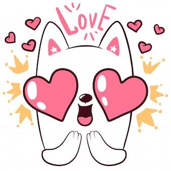 Simpatico gatto d'amore piccoli personaggi principessa
