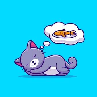 Simpatico gatto dorme e sogna fumetto di pesce