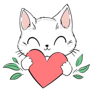 Simpatico gatto e cuore. stampa design per tessuti, abbigliamento per bambini, banner.