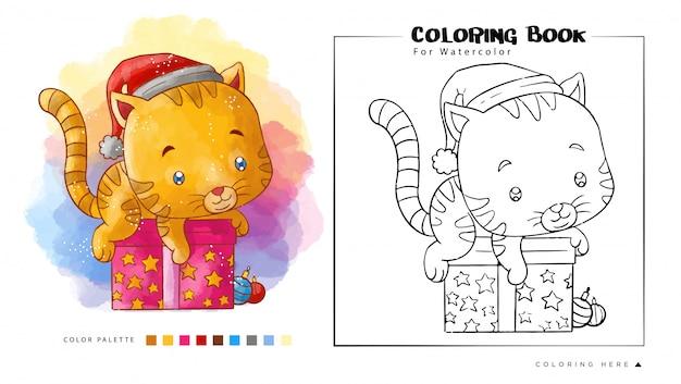Simpatico gatto gioca sopra il regalo di natale indossa il cappello di babbo natale per il libro da colorare ad acquerello