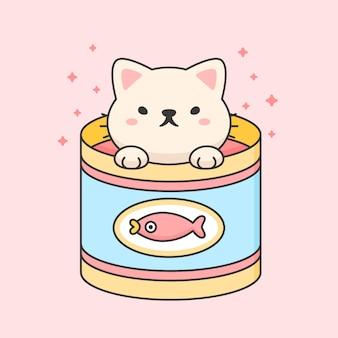 Simpatico gatto in una lattina di tonno