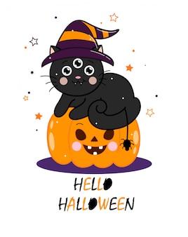 Simpatico gatto nero di halloween con ragno