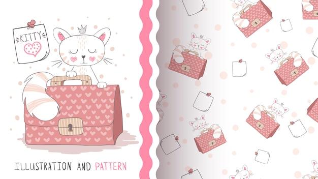 Simpatico gatto principessa - modello senza soluzione di continuità