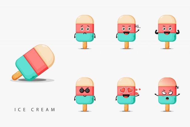 Simpatico gelato mascotte design set