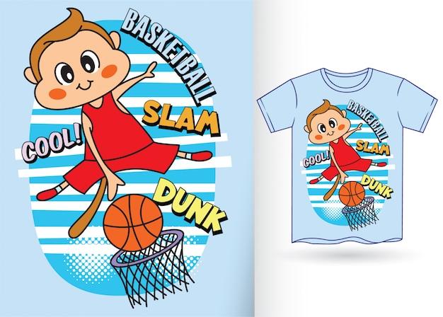 Simpatico giocatore di pallacanestro scimmia per maglietta