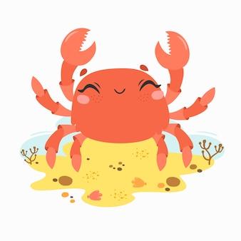 Simpatico granchio divertente sulla spiaggia